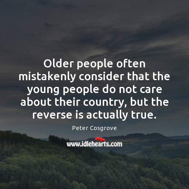Older people often mistakenly consider that the young people do not care Image