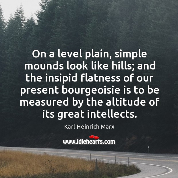 On a level plain, simple mounds look like hills; and the insipid flatness Karl Heinrich Marx Picture Quote
