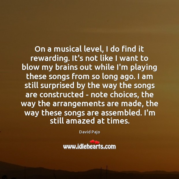 Image, On a musical level, I do find it rewarding. It's not like