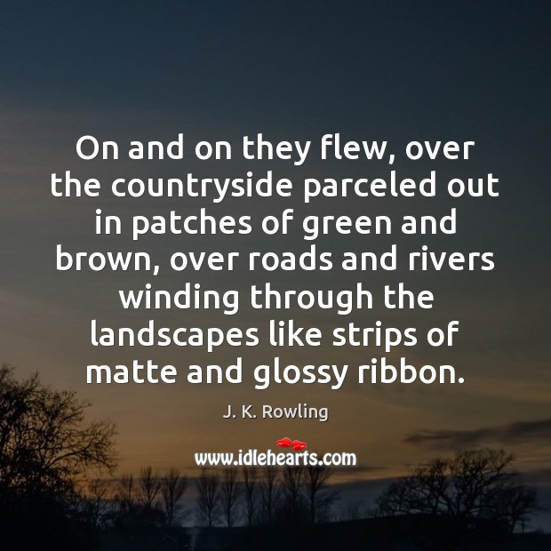 Image, On and on they flew, over the countryside parceled out in patches