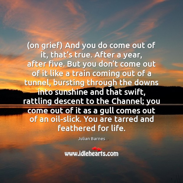 Image, (on grief) And you do come out of it, that's true.