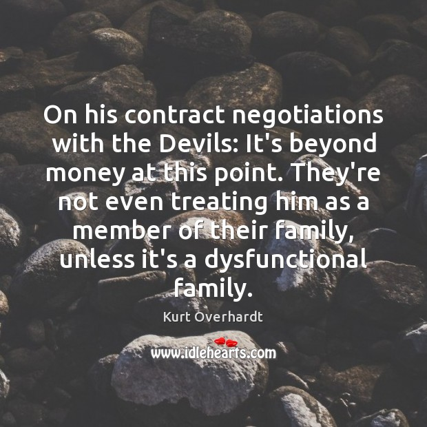 On his contract negotiations with the Devils: It's beyond money at this Image