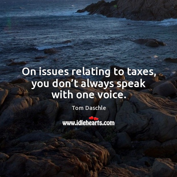 Image, On issues relating to taxes, you don't always speak with one voice.