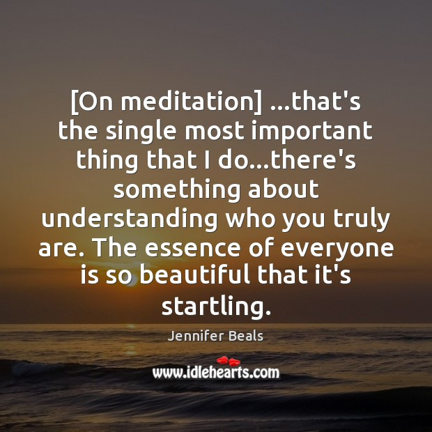 [On meditation] …that's the single most important thing that I do…there's Jennifer Beals Picture Quote