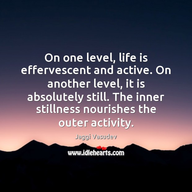 On one level, life is effervescent and active. On another level, it Image