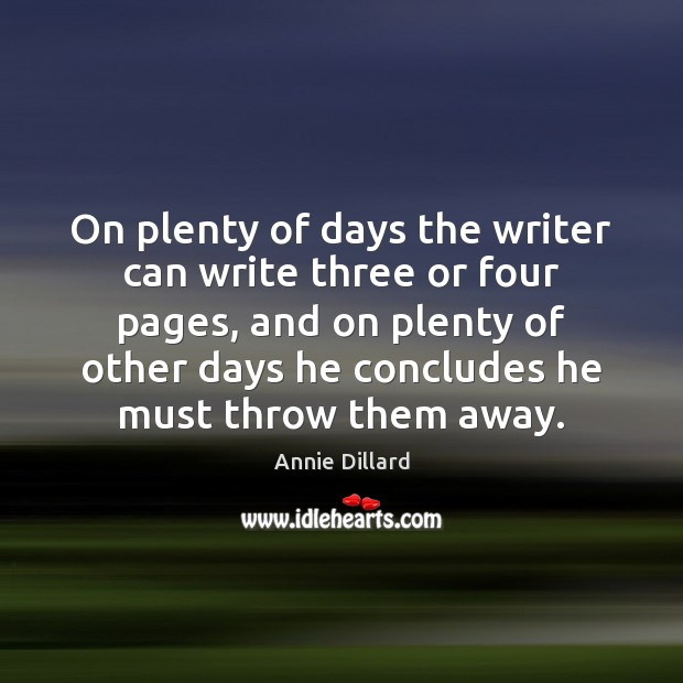 On plenty of days the writer can write three or four pages, Image