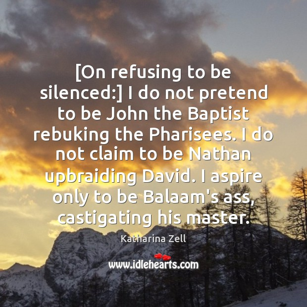 Image, [On refusing to be silenced:] I do not pretend to be John