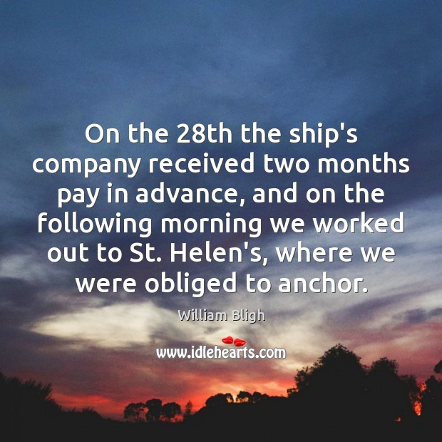 Image, On the 28th the ship's company received two months pay in advance,