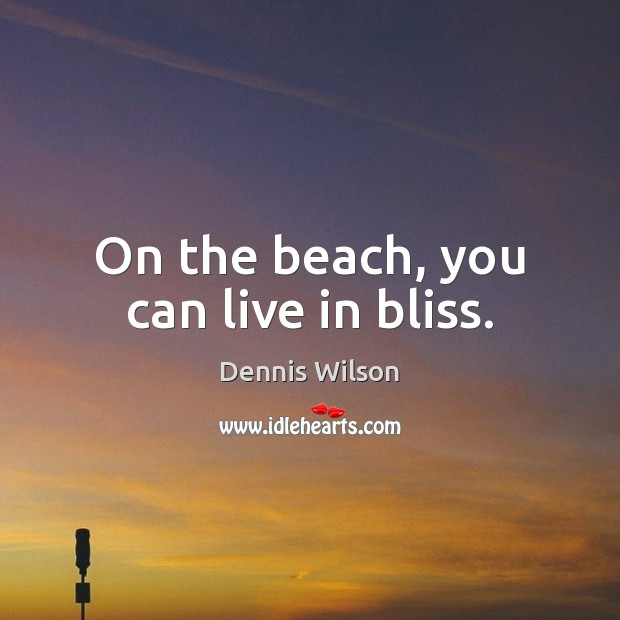 On the beach, you can live in bliss. Image