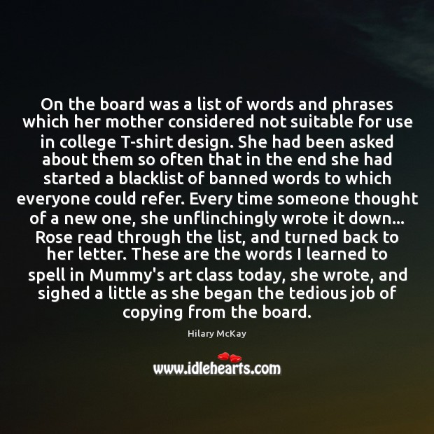 Image, On the board was a list of words and phrases which her