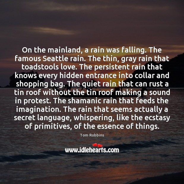 Image, On the mainland, a rain was falling. The famous Seattle rain. The