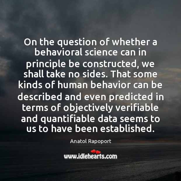 Image, On the question of whether a behavioral science can in principle be