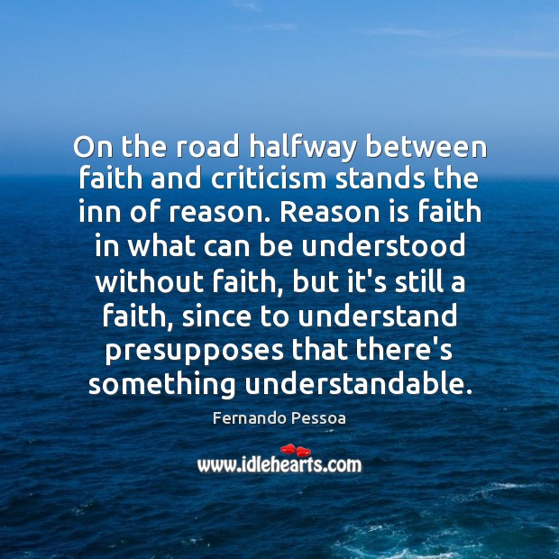 Image, On the road halfway between faith and criticism stands the inn of