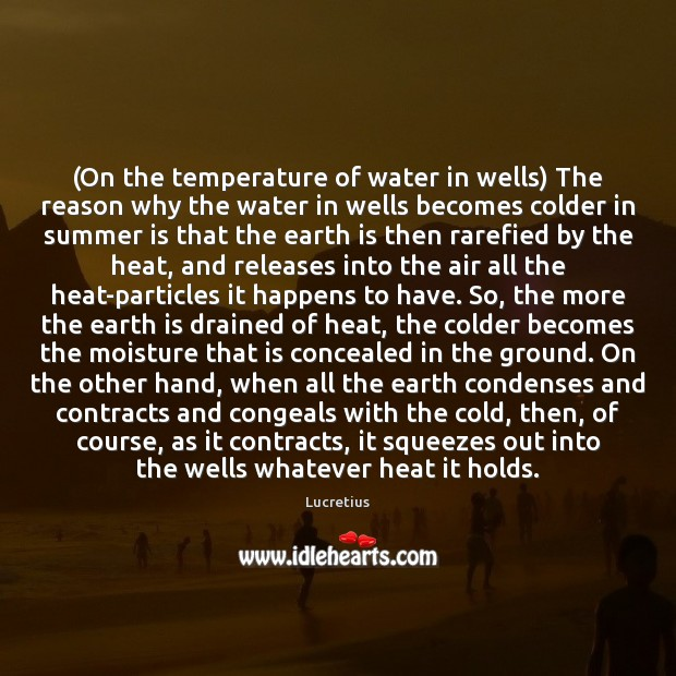 (On the temperature of water in wells) The reason why the water Image