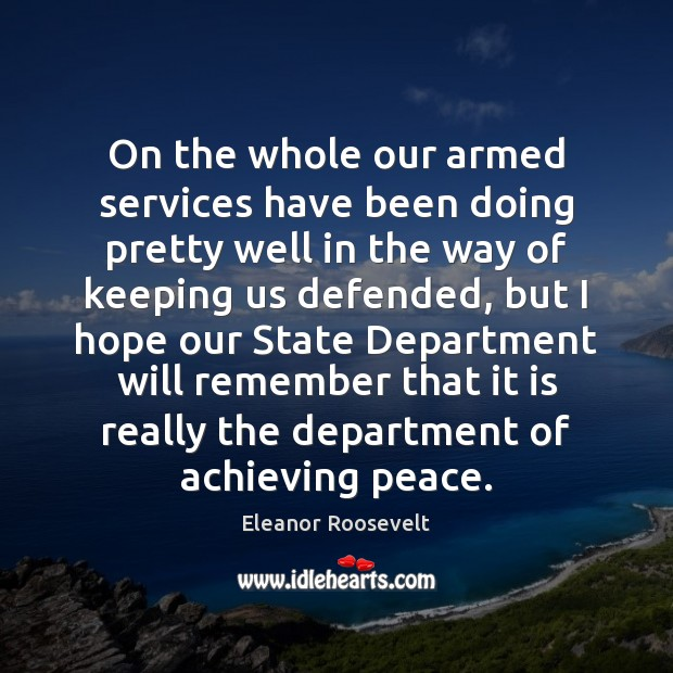 Image, On the whole our armed services have been doing pretty well in