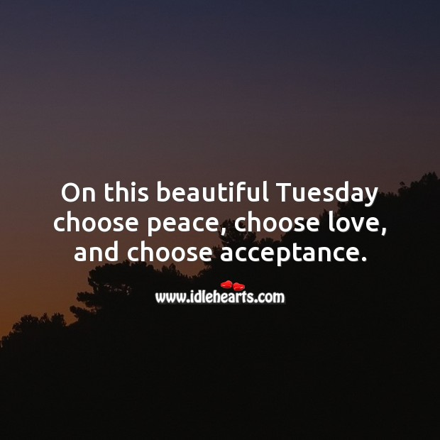 On this beautiful Tuesday choose peace, choose love, and choose acceptance. Tuesday Quotes Image