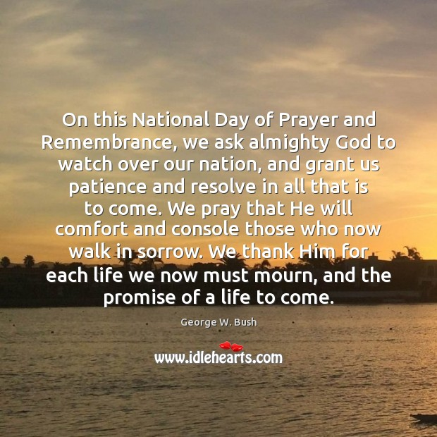 Image, On this National Day of Prayer and Remembrance, we ask almighty God