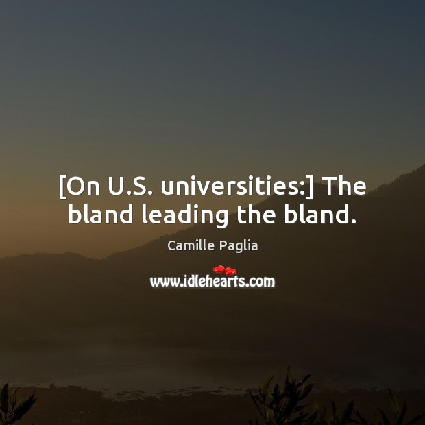 Image, [On U.S. universities:] The bland leading the bland.