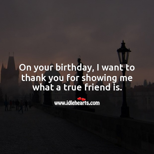 On your birthday, I want to thank you for showing me what a true friend is. True Friends Quotes Image