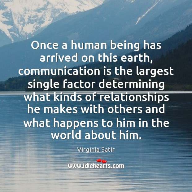 Once a human being has arrived on this earth, communication is the Image