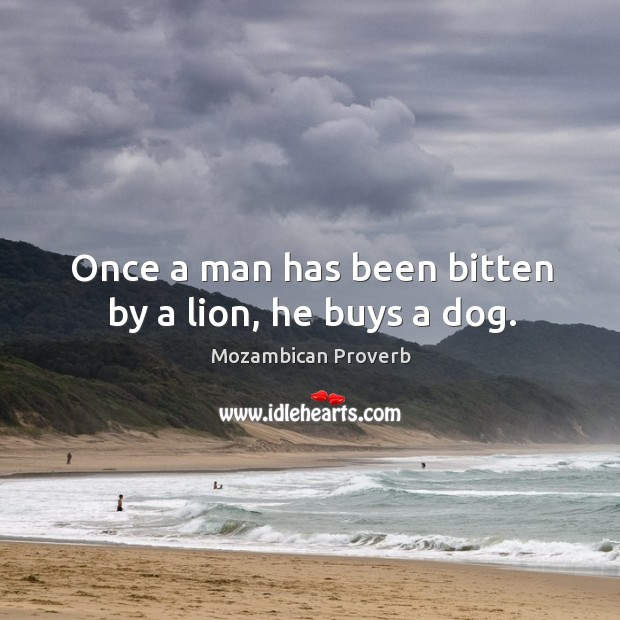 Image, Once a man has been bitten by a lion, he buys a dog.