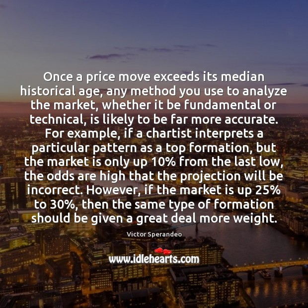 Once a price move exceeds its median historical age, any method you Victor Sperandeo Picture Quote