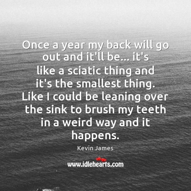 Once a year my back will go out and it'll be… it's Kevin James Picture Quote