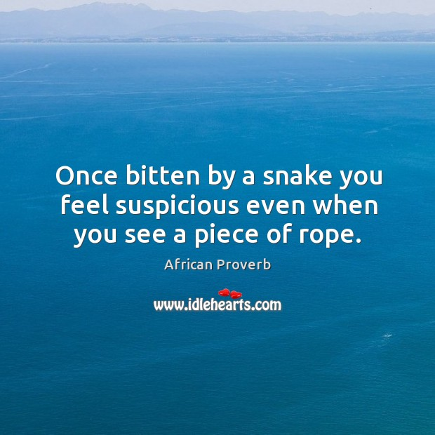 Once bitten by a snake you feel suspicious even when you see a piece of rope. Image