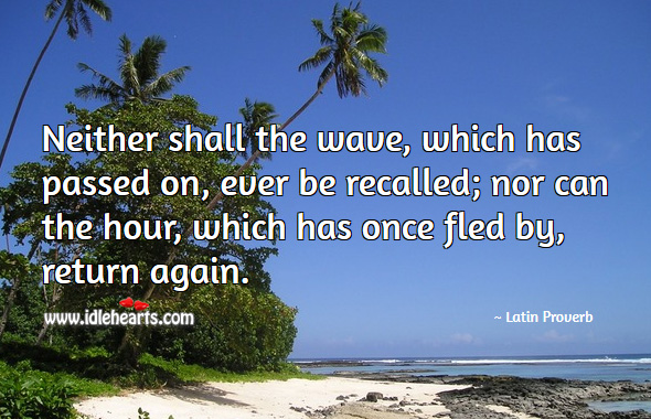 Neither shall the wave, which has passed on, ever be recalled; nor can the hour, which has once fled by, return again. Latin Proverbs Image