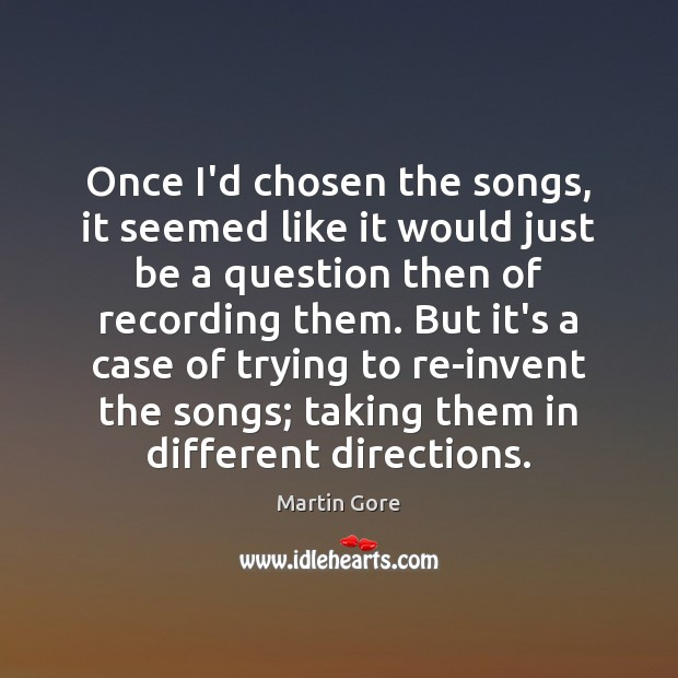 Once I'd chosen the songs, it seemed like it would just be Image