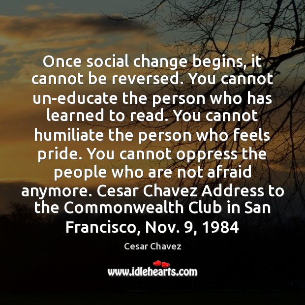 Once social change begins, it cannot be reversed. You cannot un-educate the Image