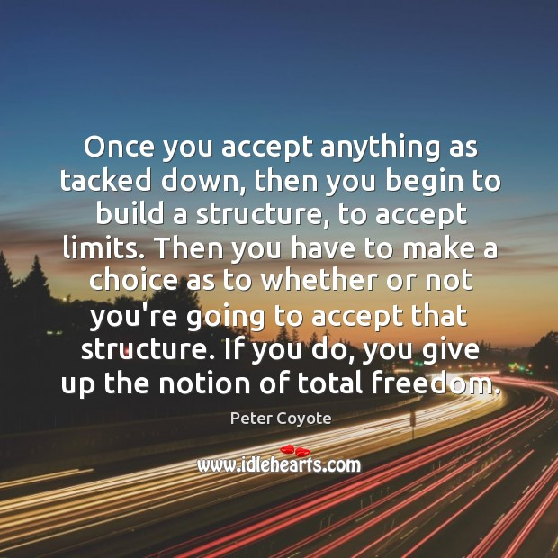 Once you accept anything as tacked down, then you begin to build Peter Coyote Picture Quote