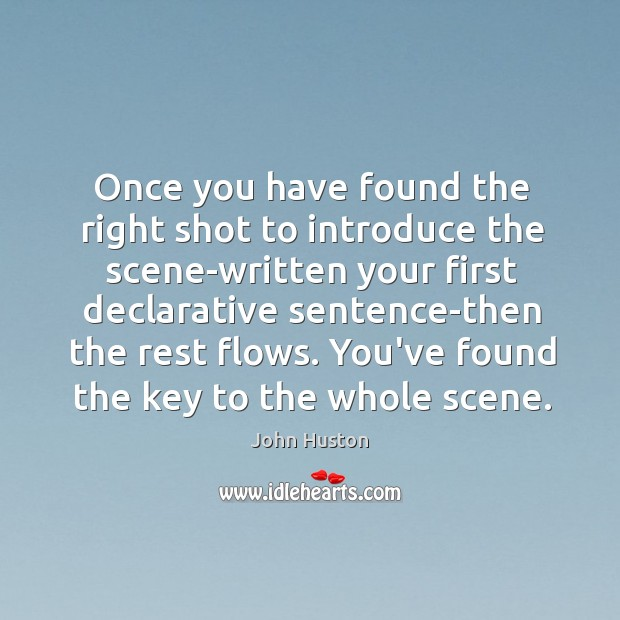 Once you have found the right shot to introduce the scene-written your John Huston Picture Quote