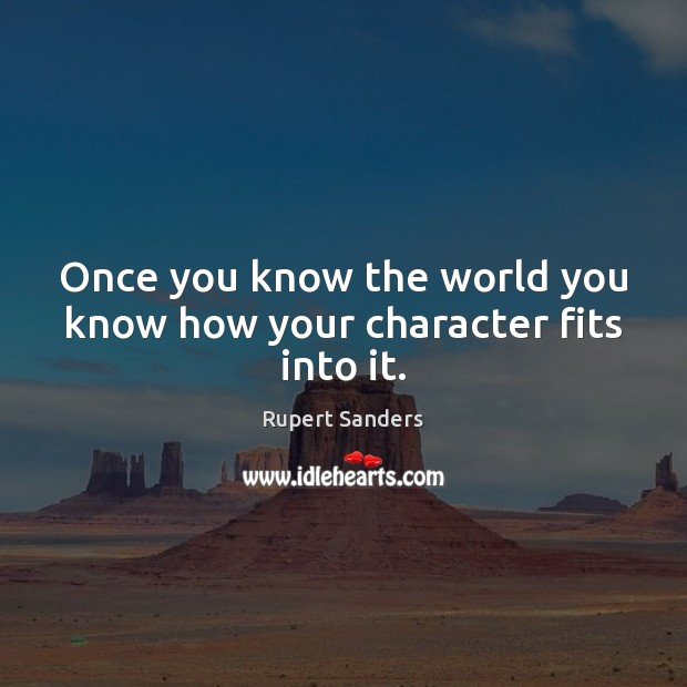 Once you know the world you know how your character fits into it. Image