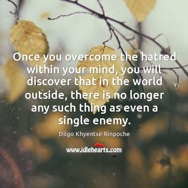 Once you overcome the hatred within your mind, you will discover that Dilgo Khyentse Rinpoche Picture Quote