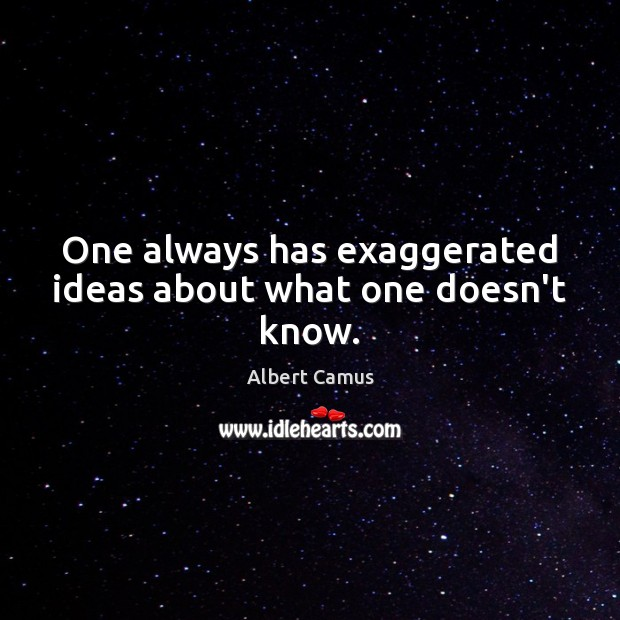 One always has exaggerated ideas about what one doesn't know. Albert Camus Picture Quote
