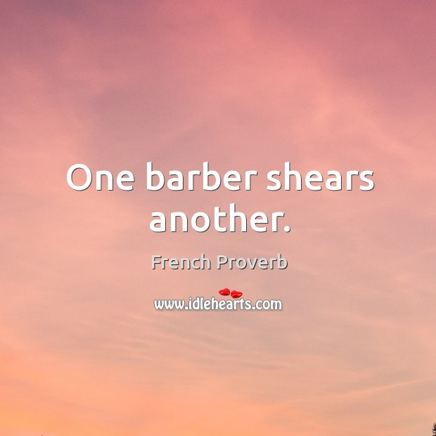 Image, One barber shears another.