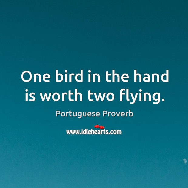 Image, One bird in the hand is worth two flying.