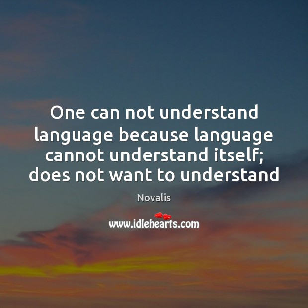 One can not understand language because language cannot understand itself; does not Novalis Picture Quote