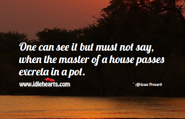 One can see it but must not say, when the master of a house passes excreta in a pot. African Proverbs Image