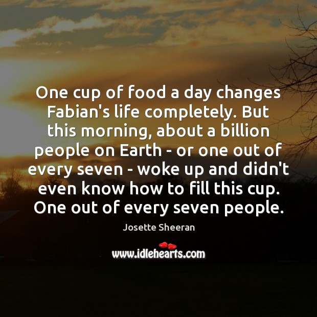 Image, One cup of food a day changes Fabian's life completely. But this