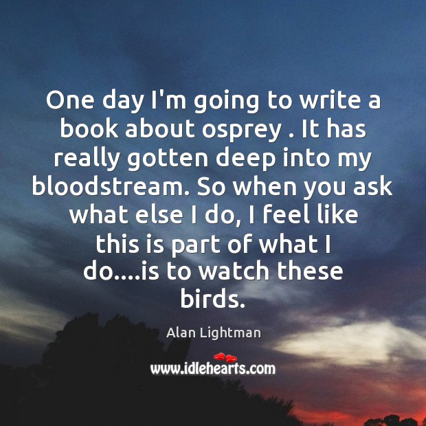 One day I'm going to write a book about osprey . It has Alan Lightman Picture Quote