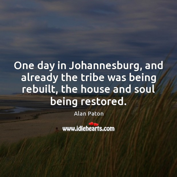 One day in Johannesburg, and already the tribe was being rebuilt, the Image