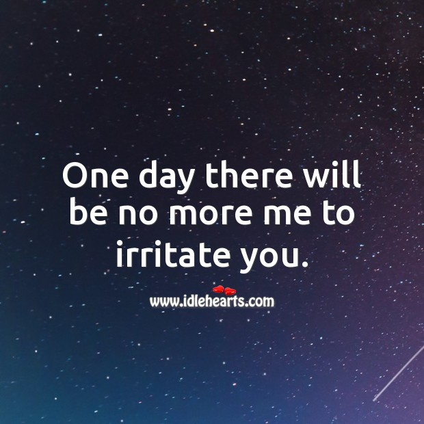 One day there will be no more me to irritate you. Sad Love Quotes Image