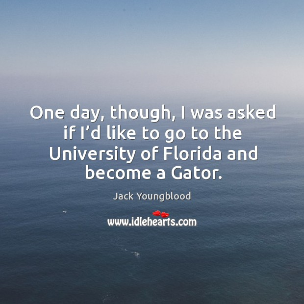 One day, though, I was asked if I'd like to go to the university of florida and become a gator. Image