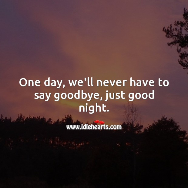 Image, One day, we'll never have to say goodbye, just good night.