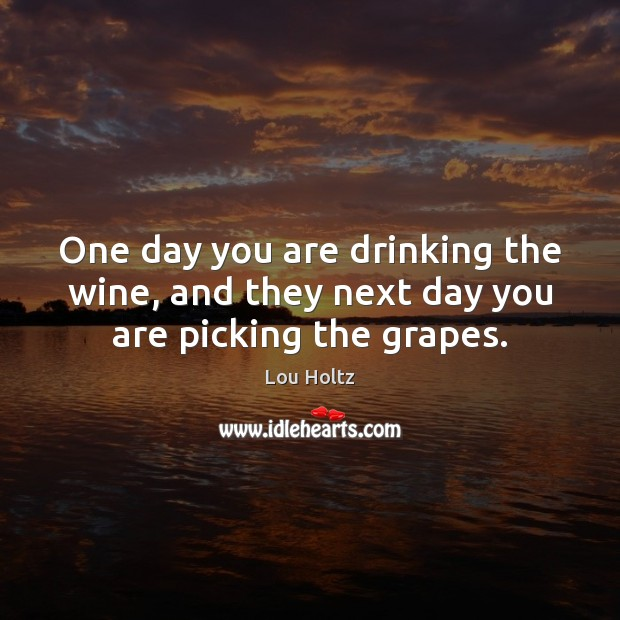 One day you are drinking the wine, and they next day you are picking the grapes. Lou Holtz Picture Quote