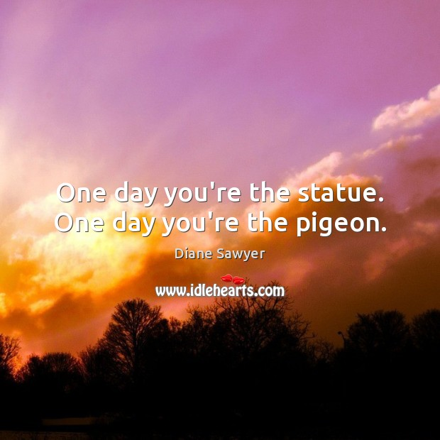 One day you're the statue. One day you're the pigeon. Diane Sawyer Picture Quote