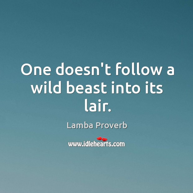 One doesn't follow a wild beast into its lair. Lamba Proverbs Image