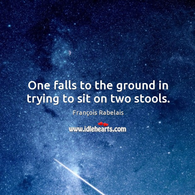 One falls to the ground in trying to sit on two stools. Image